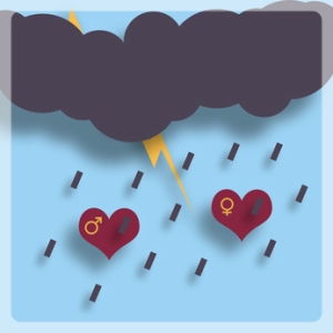 Two loving hearts under the thunder, lightning and rain. Flat. Shadow.