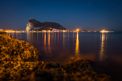 The Rock of Gibraltar at dusk seen from la Linea dela Concepcion, South spain