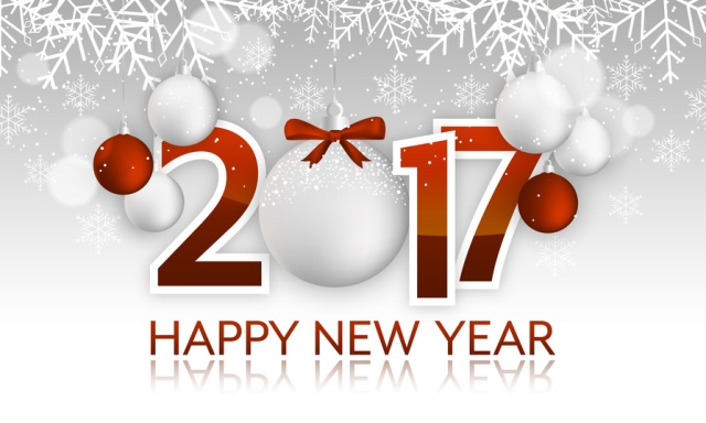 Happy New Year 2017 headline or banner with hanging bauble, bow, snowflakes, snow and blurred circles.