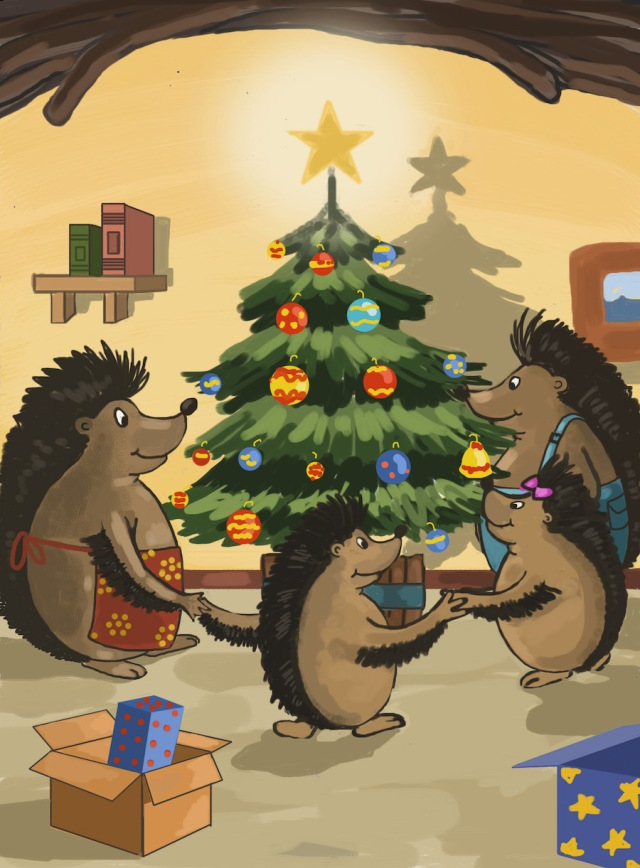 Hoglets around the christmas tree with star